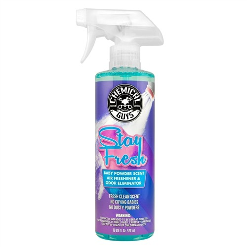 CHEMICAL GUYS STAY FRESH BABY POWDER SCENTED PREMIUM AIR FRESHENER 16OZ/473ML